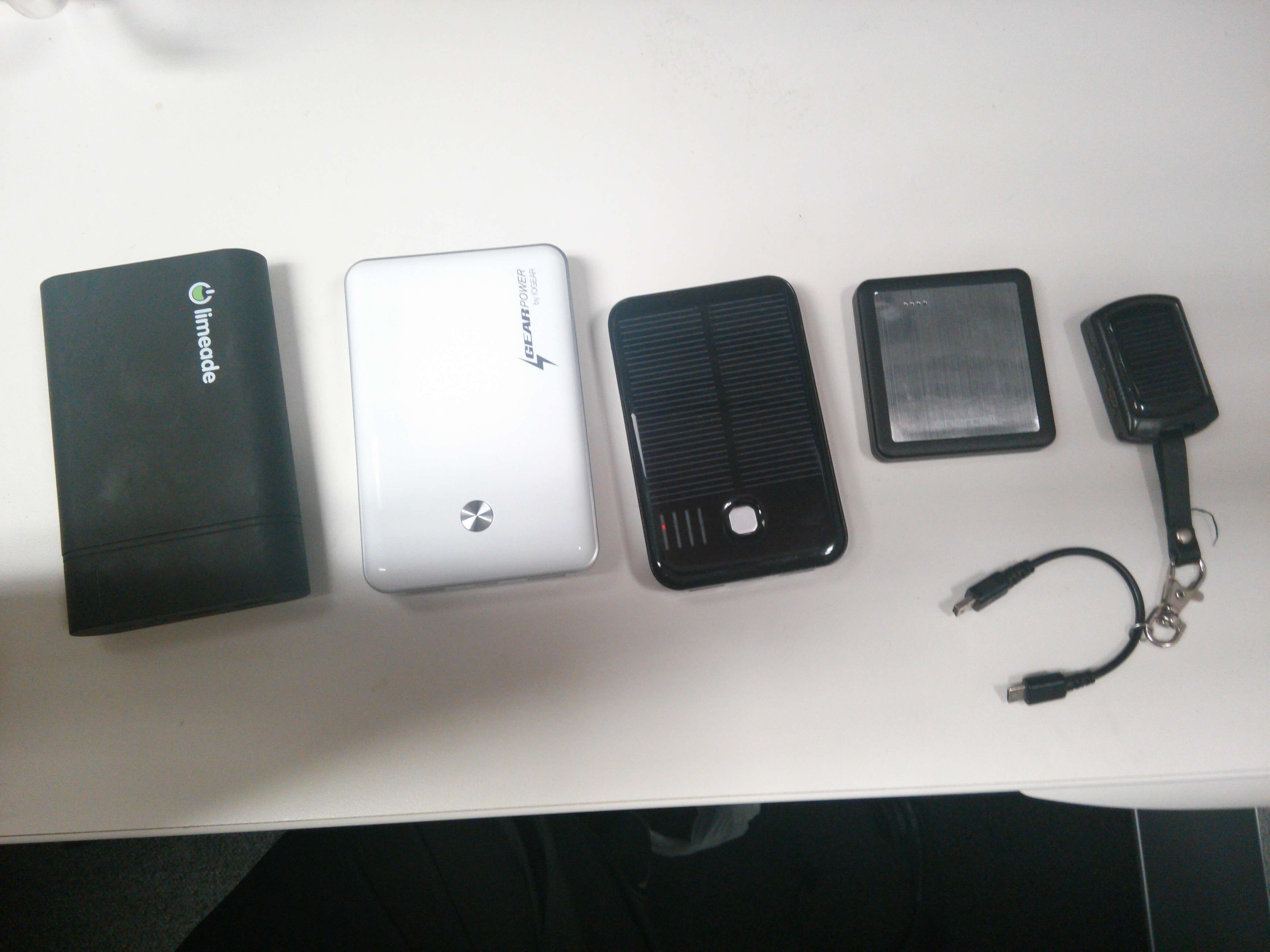 Yeh.... I sort of have an obsession with USB Battery Packs.  1x LimeAid 18,000 mAh Battery Pack 1x GearPower 11,000 mAh Battery Pack 1x 5,000 mAh Solar Battery 1x 1,350 mAh Battery 2x 300 mAh Emergency Solar Battery Pack 1x Mophie JuicePack for the HTC One  Living in Florida means that it is not abnormal to be without Power due to Tropical Storms and Hurricanes.